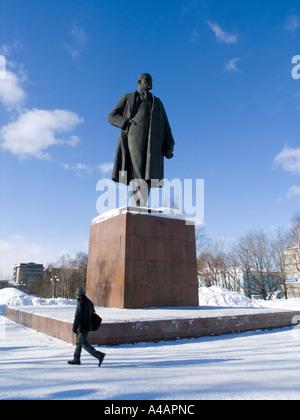 Statue of Lenin in Yuzhno Sakhalinsk Sakhalin Island Russia - Stock Photo