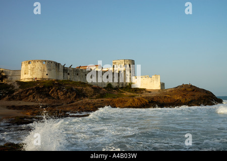 View of Cape Coast castle from the sea in Cape Coast, Ghana, Africa - Stock Photo