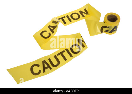 Caution Tape cut out on white background - Stock Photo