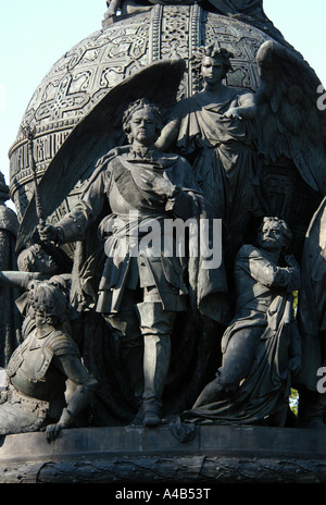 Foundation of the Russian Empire by tsar Peter the Great. Detail of the Monument to the Millennium of Russia in - Stock Photo