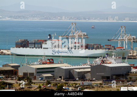 Port of Cape Town South Africa Container ship of the Safmarine company the S A Winterberg in the container terminal - Stock Photo