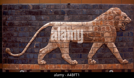 Neo-Babylonian (604 562 BC) glazed brick lion frieze from procession street in Babylon, Museum of the Ancient Orient, - Stock Photo