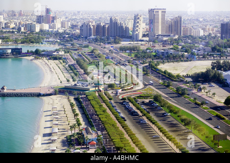 Kuwait City from the restaurant in Kuwaiti Towers - Stock Photo