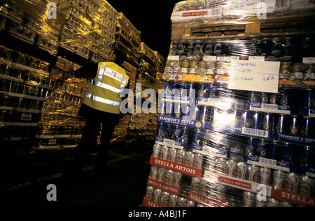 Quantities of canned beer confiscated by UK Customs and Excise officers at Dover port from people trying to smuggle. - Stock Photo