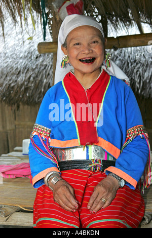 Woman from Karen Hill Tribe in Thailand - Stock Photo