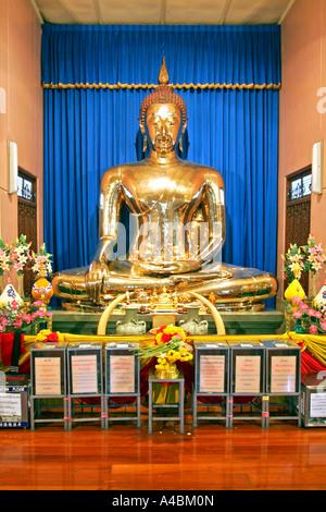 Bangkok Golden Buddha pure gold in Wat Traimit Thailand - Stock Photo