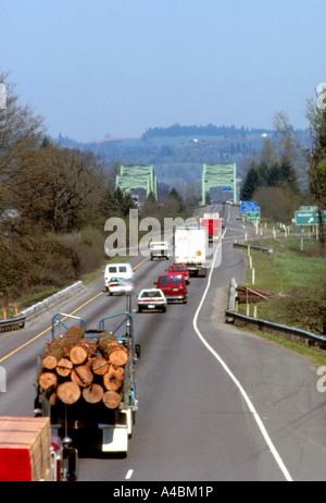 Congested Interstate Highway 5 Traffic -- Car, Van, Truck, Logs, Lumber, Bridge. - Stock Photo