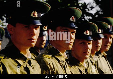 KGB border guards on parade, Gursfuv, the Crimea, Russia June 1990 - Stock Photo