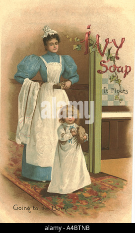 Nursery maid and baby advertising Ivy Soap circa 1880 - Stock Photo