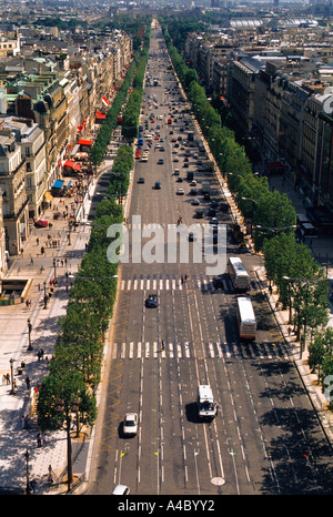 Europe France Paris Aerial View of the Avenue des Champs Elysees from the Top of Arc de Triomphe