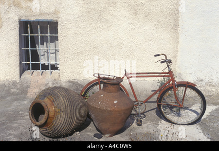 Bicycle And Jars, Santorini, Greece - Stock Photo