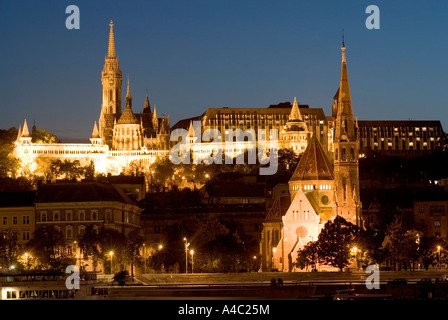 Fishermens Bastion Buda Castle Danube River by Night Budapest Hungary - Stock Photo