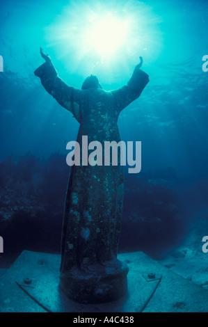 STATUE OF CHRIST OF THE ABYSS FLORIDA KEYS NATIONAL MARINE SANCTUARY KEY LARGO FLORIDA - Stock Photo