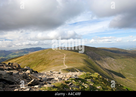 On Helvellyn Mountain Summit And Looking Out Towards 'The Dodds' In The Distance, 'The Lake District' Cumbria England - Stock Photo