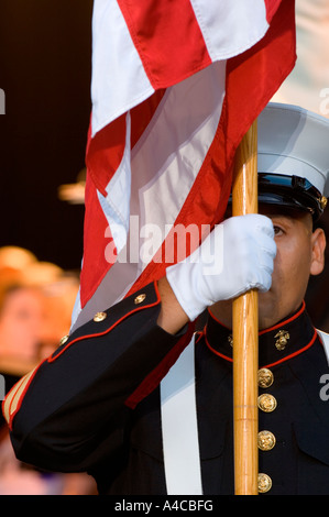 A member of a United States Marine Corps color guard. Space for copy. Camera: Nikon D2x. - Stock Photo