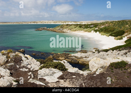 A view of gypsy cove and yorke bay near port stanley in the falkland Islands - Stock Photo