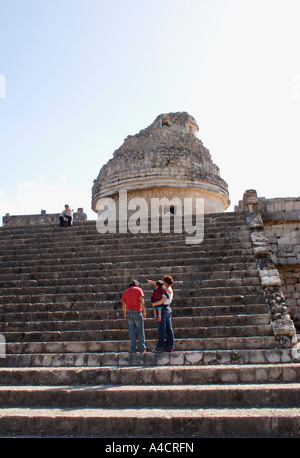 Chichen Itza's Caracol, commonly called the Observatory, has alignment for observing the moon, Venus, and significant - Stock Photo