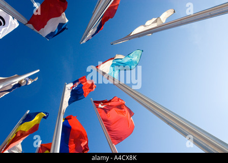 many european Flags standing together in blue sky - Stock Photo