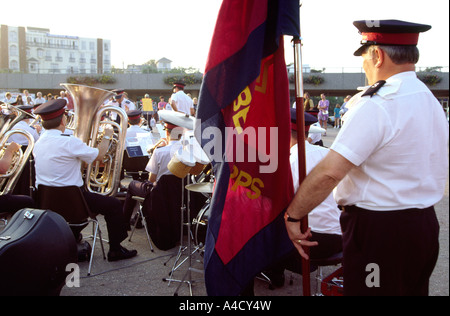 UK Dorset Bournemouth Salvation Army band playing to evening promenaders - Stock Photo