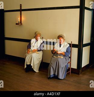 Shaker Town Pleasant Hill Kentucky United States of America USA women knitting - Stock Photo