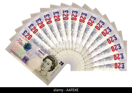 Fan of 20 pound notes against a white background. - Stock Photo