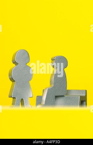 Wood figures couple Holzfiguren Paar - Stock Photo