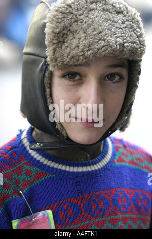 Boy with hat on Peshawar North West Frontier Province Pakista - Stock Photo