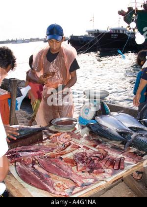 Malaysia Borneo Sabah Kota Kinabalu Filipino Market fish stall - Stock Photo