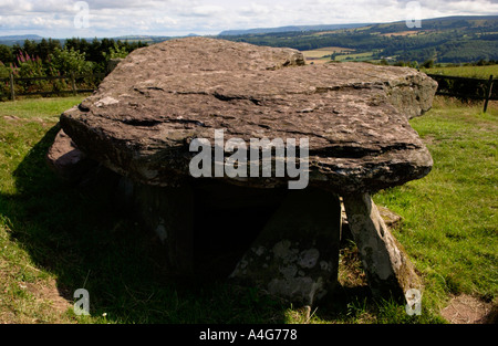 Arthurs Stone a burial chamber set on a hill top near Dorstone Golden Valley Herefordshire England UK - Stock Photo