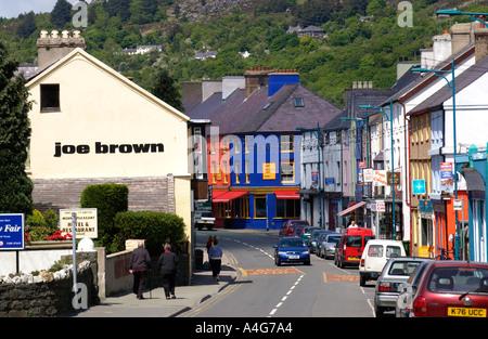 View down main shopping street in town centre of Llanberis Snowdonia Gwynedd North Wales UK - Stock Photo