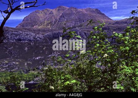 Slioch from Loch Maree. Letterewe, Scotland, U.K., Europe. - Stock Photo