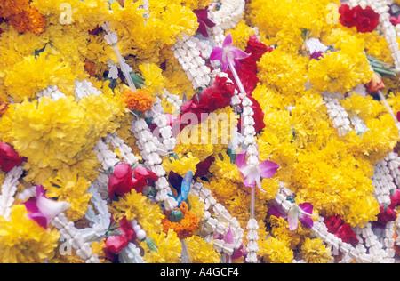 Flower Garland Buddhist Offering Thailand - Stock Photo