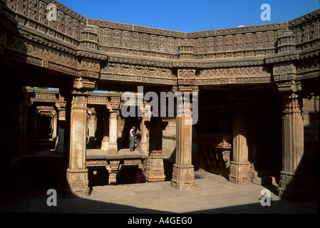 Adalaj Vav step well outside of Ahmedabad in the state of Gujarat, India. - Stock Photo