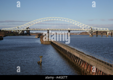 The old Silver Jubilee Bridge over the River Mersey and Manchester Ship Canal between Runcorn & Widnes, Cheshire, - Stock Photo