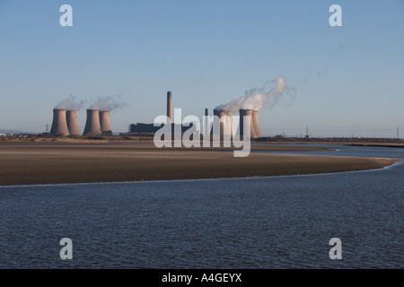 Steam rising into the fresh morning sky from the eight giant cooling towers at Fiddlers Ferry Power Station Widnes - Stock Photo
