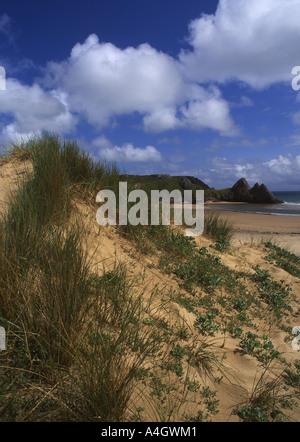 Three Cliffs Bay Near Parkmill View from dunes Coastal scenery Gower Peninsula Swansea County South Wales UK - Stock Photo