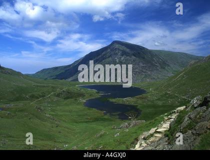 Llyn Idwal and Cwm Idwal looking to Pen yr Ole Wen Ogwen valley Near Bethesda Snowdonia Gwynedd North Wales UK - Stock Photo