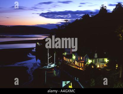 Portmeirion Fantasy village Near Porthmadog Gwynedd North Wales UK Hotel Portmeirion at night - Stock Photo