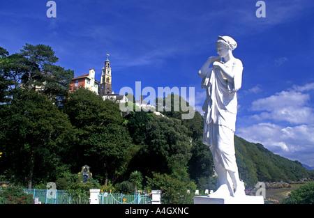 Statue Portmeirion Fantasy village Near Porthmadog Gwynedd North Wales UK - Stock Photo