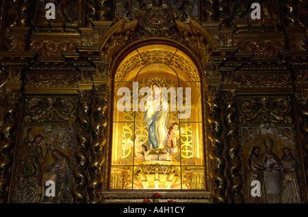 Statue of the Virgin Mary in church Iglesia de San Agustin, La Orotava, Teneriffe, Canary Islands, Spain - Stock Photo