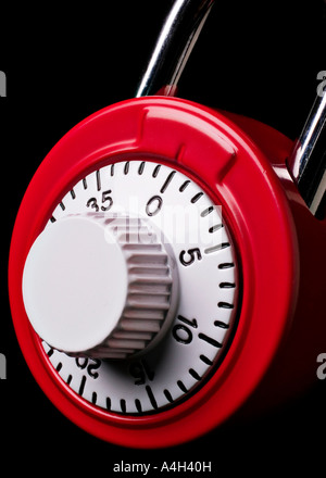 Red combination lock - Stock Photo