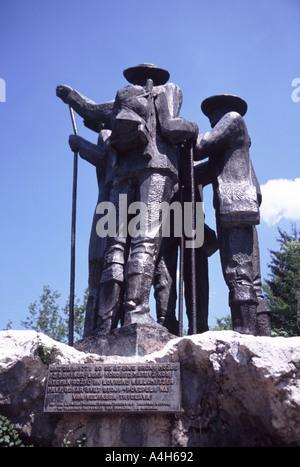 Triglav pioneers statue at Bohinj Ribcev Laz in Slovenia - Stock Photo
