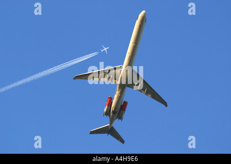 airplane taking off from Munich airport Bavaria germany - Stock Photo