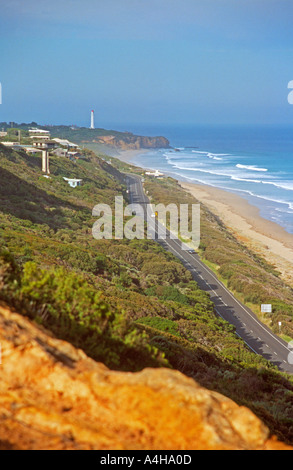 View from hill down to the Great Ocean Road at Aireys Inlet Victoria Australia - Stock Photo