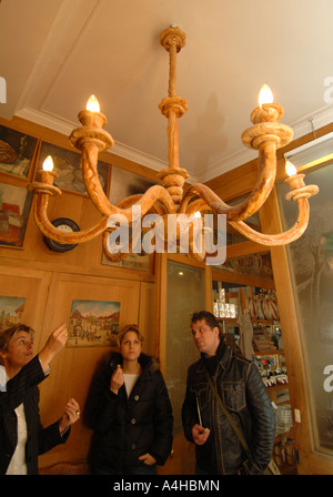 Chandelier made from bread in the Poilane Bakery Bread shop, Paris, France - Stock Photo
