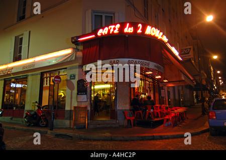 Cafe des deux Moulin Paris France, location for the recording of the film Amelie - Stock Photo