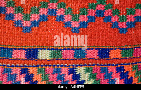 Detail of hipstrap loom brocaded huipil BLOUSE from Todos Santos for sale on market stalls throughout Guatemala - Stock Photo