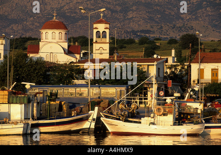 Fishingboats in the harbour of Kamariotissa, Samothraki island, Thrakia, Greece - Stock Photo