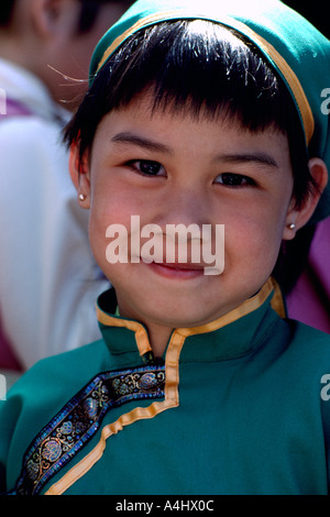 Portrait of a Happy Smiling Young Portuguese Girl wearing Traditional Costume at Ethnic Festival, BC, British Columbia, - Stock Photo