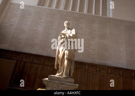 Statue of Sir Isaac Newton at Trinity College Cambridge UK - Stock Photo